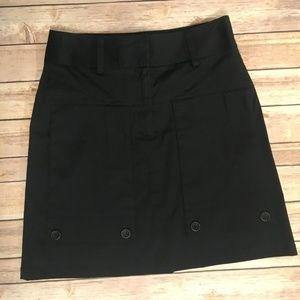 Theory Black Button Wide belt Skirt
